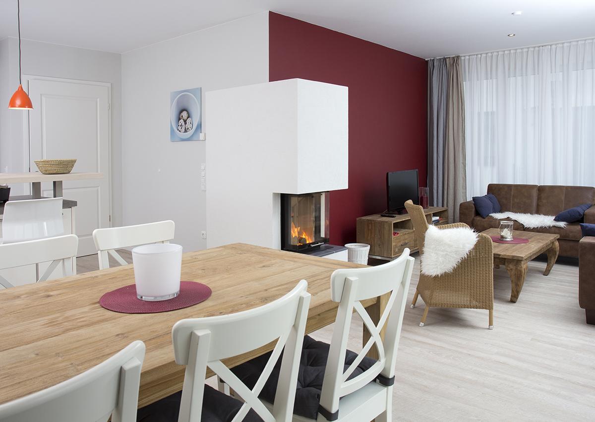 Ferienhaus Steppke, Wohnzimmer mit Kamin